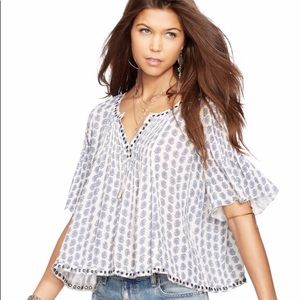 Ralph Lauren Denim & Supply Grommet Peasant Top XL